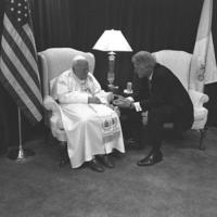 President Clinton meeting one on one with Pope John Paul II