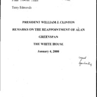 Greenspan Appointment 1/4/00