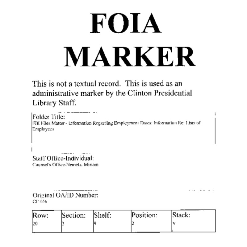 FBI Files Matter – Information Regarding Employment Dates: GSA