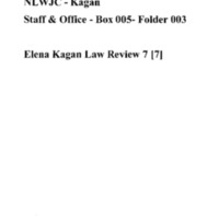 Elena Kagan Law Review 7 [7]