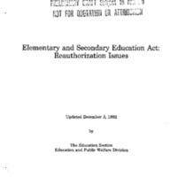[Elementary and Secondary Education Act: Reauthorization Issues – Preliminary Draft] [loose]