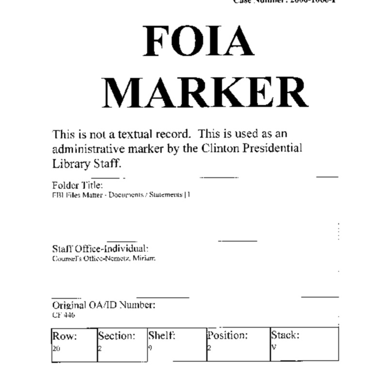 FBI Files Matter – Documents/Statements [1]