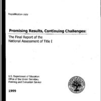 Promising Results, Continuing Challenges-Final Report of the National Assessment of Title I [Bound Material]