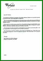 Letter to President Clinton from The Whirlpool Corporation
